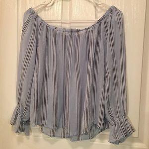 Forever 21 | Striped Off-Shoulder Blouse Sz Medium